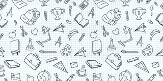 Seamless colored back to school pattern with supplies stationary and creative elements doodle drawing. Creative cute vector