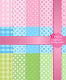 12 seamless 2 or 3 colored backgrounds. Pink blue and green colors with different elements Royalty Free Stock Image