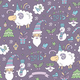 Seamless colored christmas pattern with sheep. Seamless colored christmas pattern with funny sheep and Happy new year 2015. Vector illustration royalty free illustration