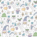 Seamless colored christmas pattern with sheep Stock Photo