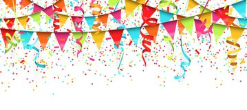 Seamless colored confetti, streamers and garlands background. Vector illustration of seamless colored confetti, garlands and streamers on white background for vector illustration