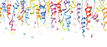 Seamless colored confetti and streamers. Vector illustration of seamless multi colored confetti and streamers for carneval or party time on white background rain vector illustration