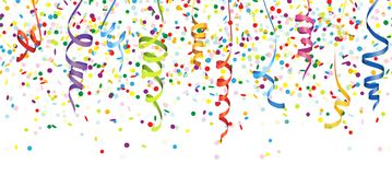 Seamless colored confetti and streamers. Vector illustration of seamless multi colored confetti and streamers for carneval or party time on white background stock illustration