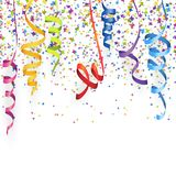 Seamless colored confetti and streamers. Vector illustration of seamless multi colored confetti and streamers for carneval or party time on white background rain royalty free illustration