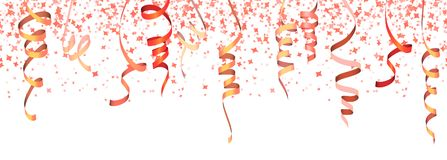 Seamless colored confetti and streamers. Vector illustration of seamless red colored confetti and streamers for carneval or party time on white background rain stock illustration