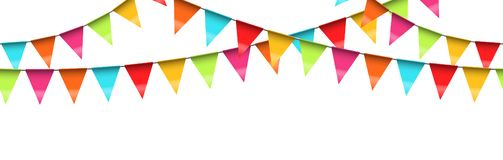 Seamless colored garlands background. Vector illustration of seamless colored garlands on white background for party or carnival usage banner pennant chain vector illustration