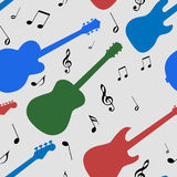 Seamless colored guitar with notes pattern Stock Photos