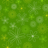 Seamless colored line pattern. Outline yellow flowers on green color background. Stock Photo