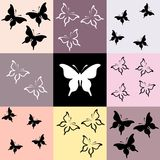 Seamless colored mosaic with butterfly Stock Image