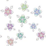 Seamless colored ornate pattern with drop shadow on white Stock Photos