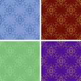 Seamless colored outlines pattern set Royalty Free Stock Photo