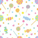 Seamless colored pattern with candies and hearts. vector illustration stock illustration