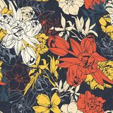 Seamless Colored Pattern, Spring Flowers Royalty Free Stock Photo