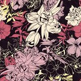 Seamless colored pattern, spring flowers. Dark color Stock Photography