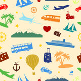 Seamless colored pattern on travel and tourism. Seamless colored pattern composed of travel and tourism symbols Royalty Free Stock Photo