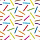 Seamless colored pencils pattern Stock Photos
