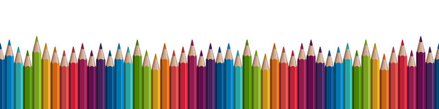 Seamless colored pencils row. On lower side Stock Photo
