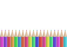 Seamless colored pencils row. Vector pattern white background Stock Image