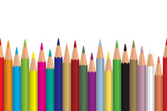 Seamless colored pencils row with wave on lower side. Flat design. Vector illustration eps10 stock illustration