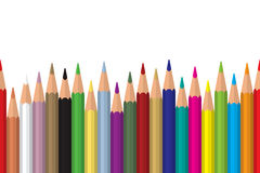 Seamless colored pencils row with wave on lower side. Flat design. Vector illustration eps10 royalty free illustration
