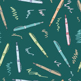 Seamless colored pens Stock Image