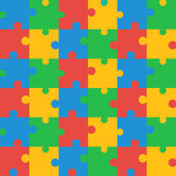 Seamless Colored Puzzle Pattern. Seamless Brightly Colored Puzzle Pattern. Vector illustration for background design Stock Photo
