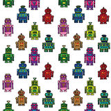 Seamless  retro robots pattern Stock Photo