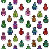 Seamless  retro robots pattern Stock Photo