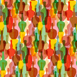 Seamless colored silhouettes of wine bottles. Pattern for restaurants, bars, tasting rooms, shops. Royalty Free Stock Photography