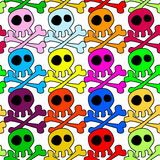 Seamless Colored Skulls Background Stock Images