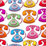 Seamless colored vintage phones Stock Photo