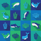 Seamless colorfol pixel whale pattern. In flat design style Stock Images
