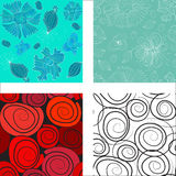 Seamless colorful abstract flowers patterns Stock Image