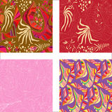 Seamless colorful abstract flowers patterns Royalty Free Stock Photos