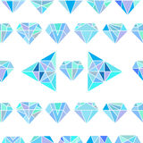 Seamless colorful abstract pattern with crystals white backgr Stock Photo