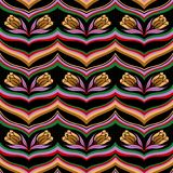 Seamless colorful abstract wave floral pattern stock illustration
