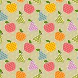 Seamless colorful apple and pear pattern. Seamless cute bright colorful retro apple and pear  pattern Stock Photo
