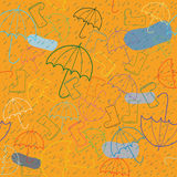 Seamless colorful autumn pattern. With umbrella & boots Stock Illustration