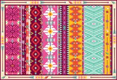 Seamless colorful aztec carpet with birds. And arrows Royalty Free Stock Photos