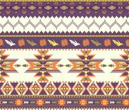 Seamless colorful aztec pattern. On violet color Royalty Free Stock Images