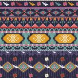 Seamless colorful aztec pattern with birds Stock Photo