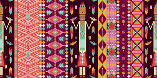 Seamless colorful aztec pattern with birds Royalty Free Stock Image