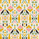 Seamless colorful  aztec pattern. White background. Aztec geometric background. Modern abstract wallpaper. Vector illustration. Used as greeting card or wedding Stock Images