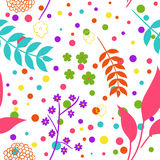 Seamless colorful background. Seamless colorful floral background with flowers and leafs Stock Photography