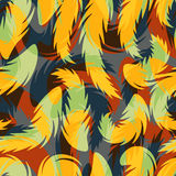 Seamless colorful background with abstract feathers Stock Images
