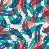Seamless colorful background with abstract feathers Stock Photos