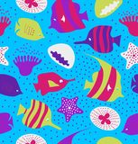 Seamless colorful background with cute fishes, jellyfishes. Marine texture, pattern with sea creatures, coral reefs. Stock Photo