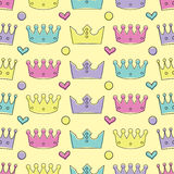 Seamless colorful background with decorative crowns Stock Image