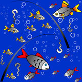 Seamless colorful background of fishing Stock Photos