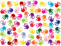 Seamless colorful background with hand stamps Royalty Free Stock Photo